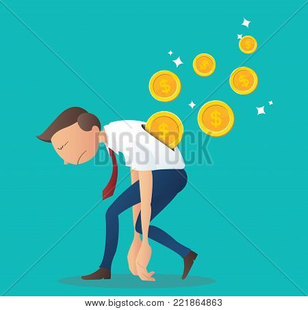 coin inserting into back of businessman, business concept of pay salary vector illustration