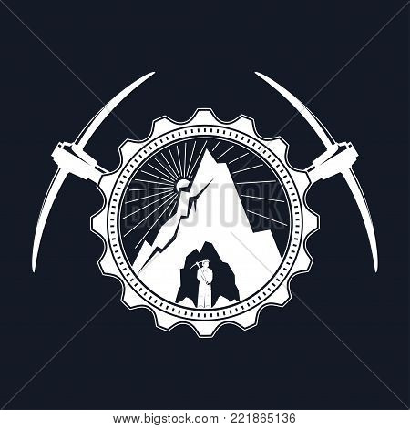 Miner is Holding Pickaxe in the Bowels of the Mountain on a Background of the Sunburst in a Gear with Two Crossed Pickaxes , Vintage Emblem of the Mining Industry ,  Illustration