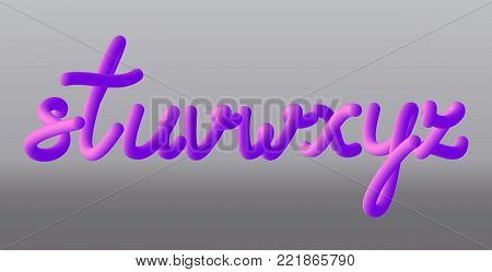 Set with letters s, t, u, v, w, x, y, z. Glossy pink paint letters. 3D render of bubble font with glint. Vector illustration