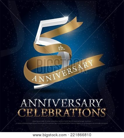 5th years anniversary celebration silver and gold logo with golden ribbon on dark blue background. vector illustrator