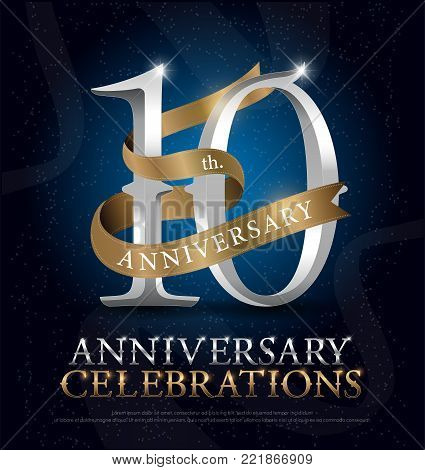 10th years anniversary celebration silver and gold logo with golden ribbon on dark blue background. vector illustrator
