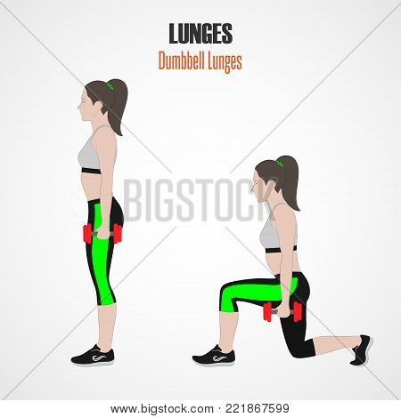 Sport exercises. Exercises with free weight. Classic dumbbell Lunges. Illustration of an active lifestyle. Exercise for beautiful thighs and buttocks. Vector.