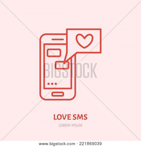 Smartphone with love sms by illustration. Dating message flat line icon, romantic relationship. Valentines day greeting sign.