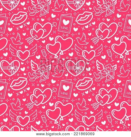 Valentines day pink seamless pattern. Love, romance flat line icons - hearts, chocolate, kiss, Cupid, doves, valentine card. Wallpaper for february 14 celebration.