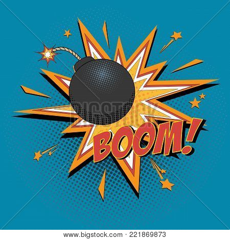 Comic bomb and explosion for comics book. Vector cartoon illustration.