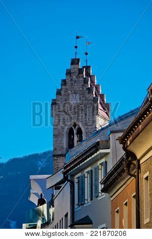 typical bell tower of the churches of the mountains of central Europe