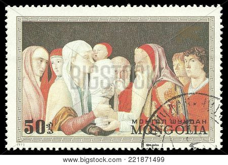 Mongolia - circa 1972: Stamp printed by Mongolia, Color edition on Art, shows Painting Presentation in the tempel by Bellini, circa 1972