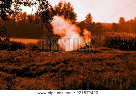 An Abstract And Blurred Image Of An Explosion, War And Hostilities.