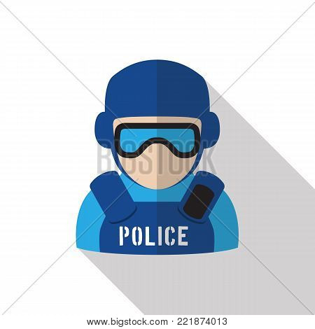 Icon of policeman wearing protection gear and eyeshield. Flat design with long shadow on white isolated background. Symbol of law enforcement.