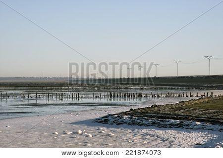 Danish Wadden sea national park close to Roemoe Island, Denmark. View from causeway.