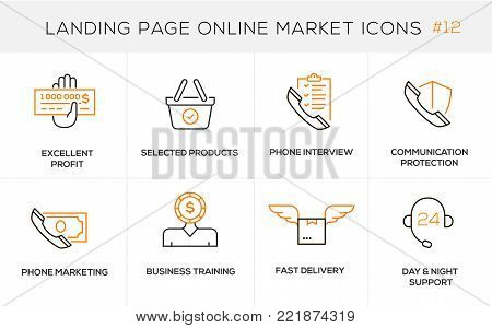 Flat line design concept icons online shopping, e-commerce m-commerce services, payment procedure, support, delivery process, online order procedure, website banner and landing page