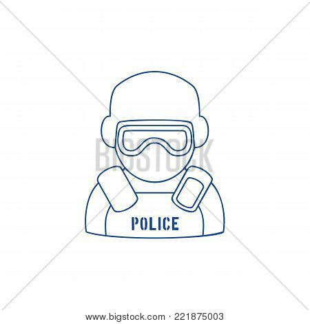 Line icon of policeman wearing protection gear and eyeshield. Trendy linear design on white isolated background. Symbol of law enforcement.