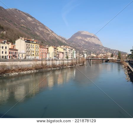 View on the city of Grenoble, the Isère river and the Dent de Crolles in the Chartreuse mountain