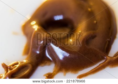 Macro of a drop of melted chocolate