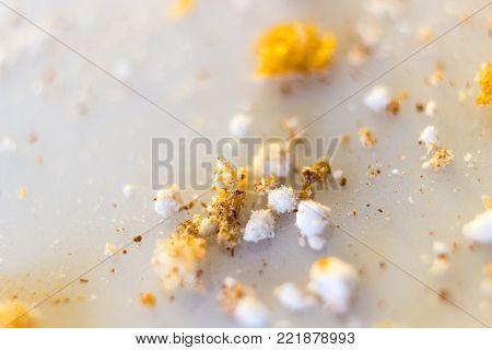 Macro of sugar and cinemon waffle leftovers