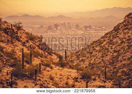 Phoenix Arizona State Capitol. City of Phoenix Between Desert Hills. United States of America.