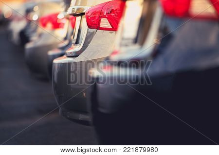 Pre Owned Cars For Sale on Car Dealer Lot. Closeup Photo. Automotive Industry Concept.