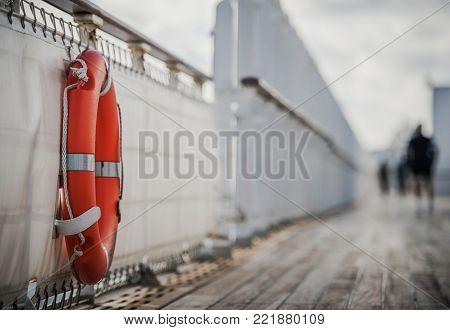 Cruise Ship Lifebuoy Lifering. Life Saving Ring. Sea Travel Safety