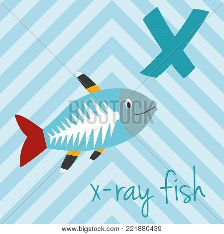 Cute cartoon zoo illustrated alphabet with funny animals: X for X-Ray Fish. English alphabet. Learn to read. Isolated Vector illustration.