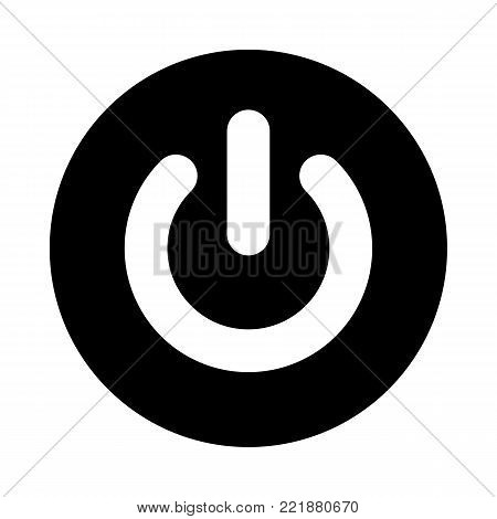 Power button circle icon. Black, round, minimalist icon isolated on white background. Power on off button simple silhouette. Web site page and mobile app design vector element.