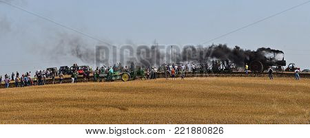 ROLLAG, MINNESOTA, Sept 2, 2017: Spectators observe a steam engine pull a five bottom gang plow in a wheat field at the annual WCSTR farm show in Rollag held each Labor Day weekend where 1000's attend.