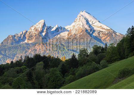 Snow-crowned peaks of Watzmann mount in famous Bavarian national park Berchtesgaden in German Alps