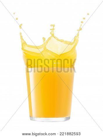 glass of splashing orange juice isolated on white background. Orange juice splash. Pouring orange juice