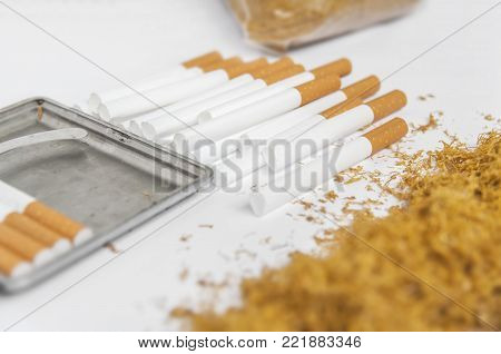Cigarette paper for rolling with addiction pile of tobacco