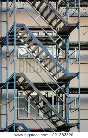 framework and stairway at building site, no workers.