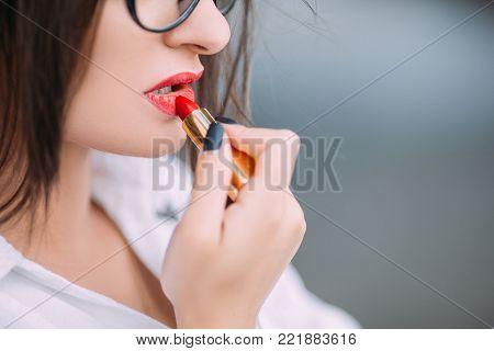 red lipstick makeup seductive sensual provocative sexy woman concept