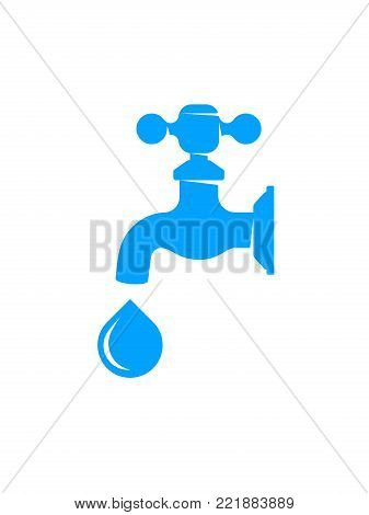 Water faucet with drop isolated on white background