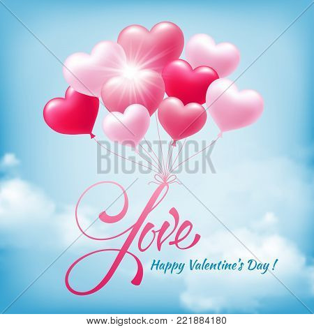 Love typography text with flying pink heart shape balloons. Design for valentines day greeting card or banner on blue sky background. Vector illustration.