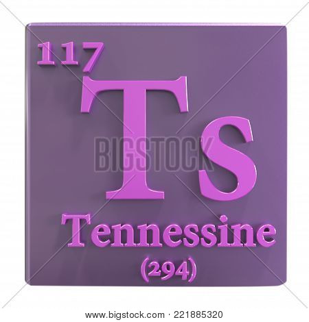 Tennessine, Ts, a recently discovered synthetic chemical element included into the periodic table in 2016. 3D illustration