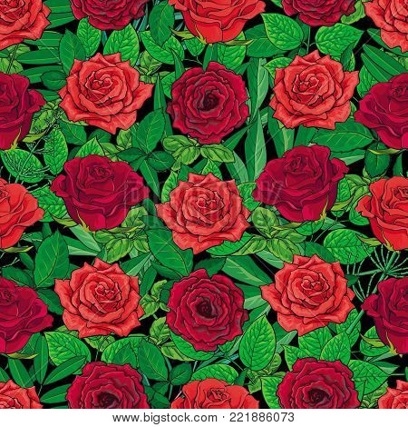 Seamless pattern of hand drawn red roses and leaves on black background, beautiful textile, backdrop, wrapping paper design. Hand-drawn red and scarlet red roses forming seamless background