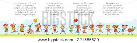 Happy kids. Template for advertising brochure. Ready for your message. In the style of children's drawings. Funny cartoon character. Vector illustration