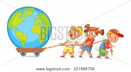 Children pulling wagon with a globe. Funny cartoon character. Vector illustration. Isolated on white background