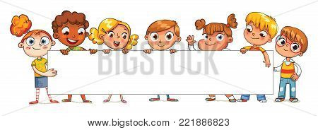 Kids are holding a big poster. Happy children holding blank poster. Template for advertising brochure. Ready for your message. Space for text. Funny cartoon character. Isolated on white background