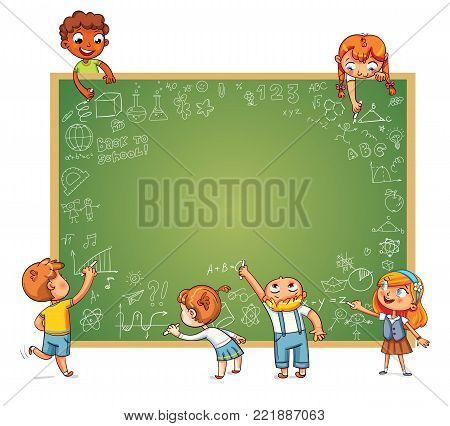Different children draw doodle on school board. Template for advertising brochure. Ready for your message. Space for text. Funny cartoon character. Vector illustration. Isolated on white background
