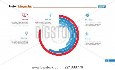 Circle chart with percentage slide template. Business data. Graph, diagram, design. Creative concept for infographic, report. Can be used for topics like project implementation, process chart, workflow