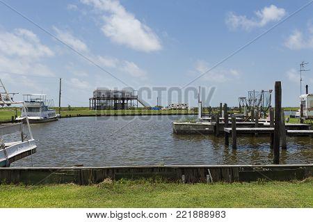 Lake Charles, Louisiana- June 15, 2014: View of a harbor in the banks of Lake Charles in the State of Louisiana, USA
