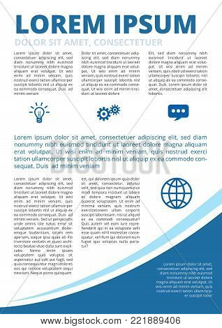 Blue Colored with elipse, modern business motion style inner page inforgraphics design for booklet, brochure, annual report, proposal A4 format