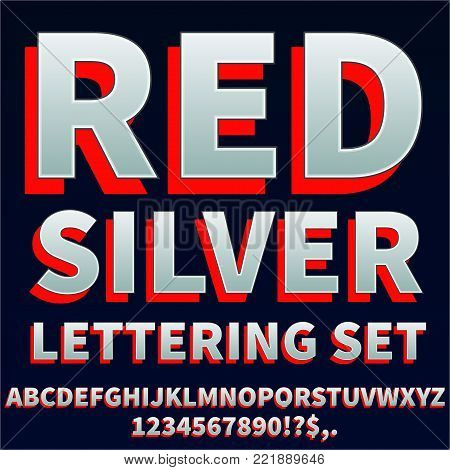 Red silver - stylized typeset font for lettering. Vector set