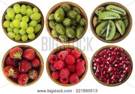 Red and black food. Berries and fruits isolated on white background. Collage of different fruits and berries at green and red color. Kiwi, gooseberries, grapes, red currants, strawberries and raspberries. Top view. Various fresh summer on white background