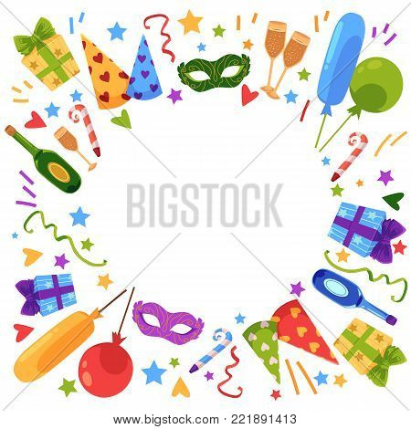 Vector flat happy birthday card template with celebration symbols icon set. Birthday cake with candle, air balloons, present box in bright wrapping, hat, champagne, mask, blower. Isolated illustration