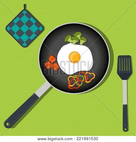 Kitchen Utensils, Set. Ladle, Spatula, Whisk, Skimmer, Spoon, Grater, Kitchen Axe, Knife, Vector Ill