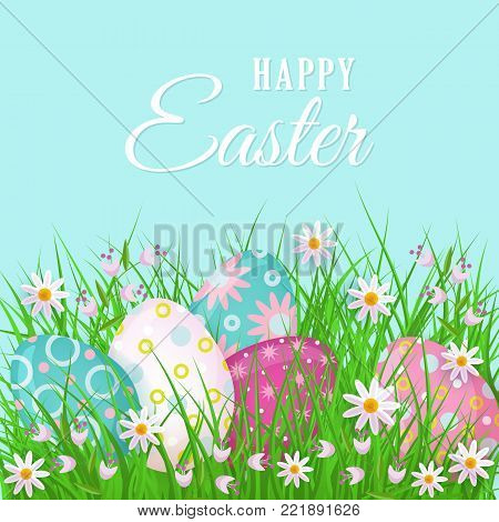 Happy Easter greeting card, postcard, banner design with text and painted legs eggs, grass and spring flowers, vector illustration. Happy Easter postcard, greeting card, banner with eggs and flowers