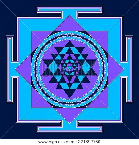 Sacred Indian Geometry Mystical Meditative Diagram Symbol - Vector Shry Yantra