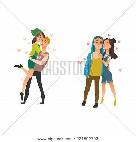 Vector cute young couples in love dating at valentine s day. Cartoon beautiful characters in casual clothing hugging, embrasing expressing care, positive emotions, carrying girl. Isolated illustration