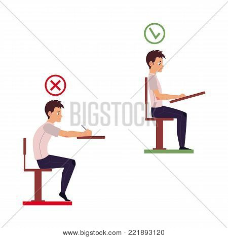 Correct and incorrect neck and spine alignment of young cartoon man character sitting at desk writing. Head bending positions, inclination of neck. Spine care concept. Vector isolated illustration