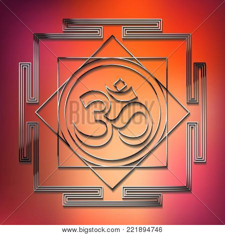 Sacred Indian Geometry Mystical Meditative Diagram Symbol - Vector Aum or Om Yantra